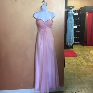 Strapless Pink Prom Gown